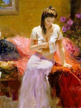 skill painter handmade impression nude women oil painting latest dress designs sexy lady oil paintings art wall naked picture(China)