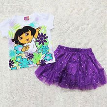 2 Pcs Cute Princess Baby Kids Girls Toddlers Dora T-Shirt+Lace Tutu Shiny Skirt Outfits 1-7 Years