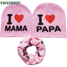 Fashion Cotton Baby Hat Scarf Kids Hat Autumn Winter Children Scarf-Collar Boys Girls I Love MAMA PAPA Infant Hats Set(China)