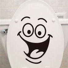 Smile face Toilet stickers diy personalized furniture decoration wall decals fridge washing machine sticker Bathroom Car(China)