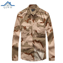 Hot 2017 Outdoor Spring Autumn Cargo Grid Long Sleeve Tactical Camouflage Shirt U.S. Commandos Military camping Hiking Shirt Men