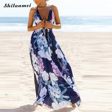 Buy Floral print halter chiffon long dress Women backless 2017 maxi dresses vestidos Sexy sleevelsee beach summer boho maxi dress for $16.97 in AliExpress store