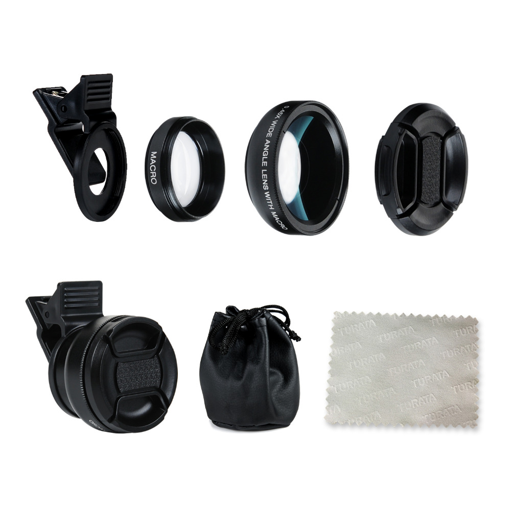 Turata Phone Lens, 2 in 1 HD Camera Fisheye Lens [0.45X Wide Angle + 12.5X Macro] Clip-on Kit Lens For iPhone 5 5S SE 6 6S 7 8