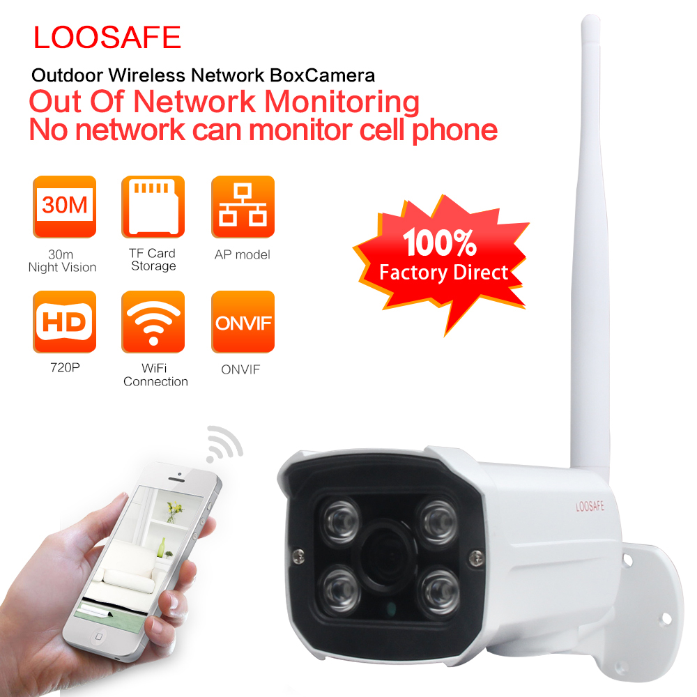 LOOSAFE HD 720P Security Wifi IP Camera Wireless Waterproof Outdoor Infrared Night Vision P2P Home Security Bullet Camera <br>