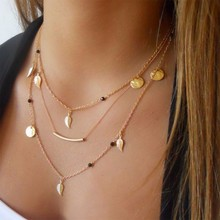 New gold silver chain beads leaves pendant necklace fashion jewelry multi layer necklaces for women Collier femme accessories