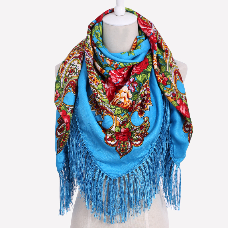 Image 2017 New Fashion Spring Summer Ladies Big Square Scarf Printed Women Brand Wraps Hot Sale Winter ladies Scarves cotton india flo