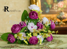 Artificial silk flowers /satin flowers for wedding decorations, 13 heads lovely rose buds, pink, yellow and purple