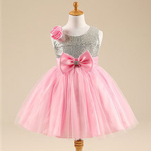 Free Shipping 2015 Fashion New Arrival Summer Girls Bowknot Paillette Princess  Sleeveless Baby Girls Cocktail Dress
