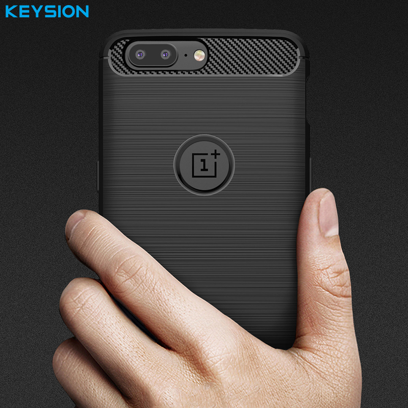 KEYSION Phone Case for Oneplus 5 Environmental Carbon Fiber Soft TPU Brushed Anti-Skid Anti-knock Back Cover for Oneplus5(China)
