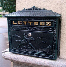 European Bronze cast iron mailbox Rural Cast Iron Mail Box Mailbox Antique Metal Wall Mount Postbox Post Letters Box(China)