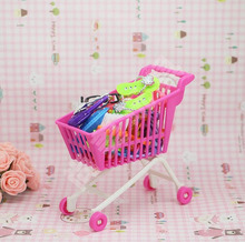Kids Toy Dollhouse Mini Cute Supermarket Shopping Cart  for barbie Dolls Pretend Play Handcart Storage Accessories