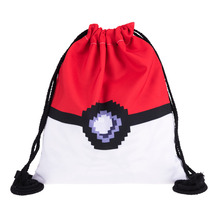 Girl's PIXEL BALL 3D Printing Pokemon Backpack Necesser women Mochila Escolar Game Men's Backpack for Teenagers Drawstring Bags