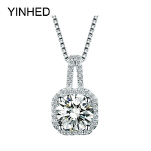 90% Promotion !! YINHED 925 Sterling Silver Jewelry Necklace 2ct SONA CZ Diamant Pendant Necklace for Women Birthday Gift ZN047(China)