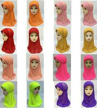 2016 Girls Kids One Layer Muslim Hijab Islamic Arab Scarf Shawls Abaya Net Yarn