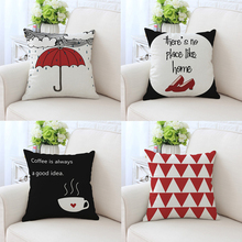 Hot Sale London Style Cushion Cover With Red Umbrella and High Heels Cotton Linen Pillow Cases Sofa PillowCover Dec 45x45cm