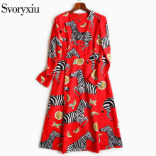 SVORYXIU 2018 Summer Runway Designer Casual Dress Women High Quality Long Sleeves Zebra Printing Print Dress(China)