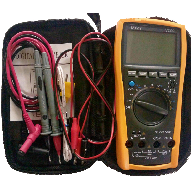 1pcs Vichy Vici VC99 3 6/7 Auto range digital multimeter with bag+Alligator Probe+Thermal Couple TK cable<br>