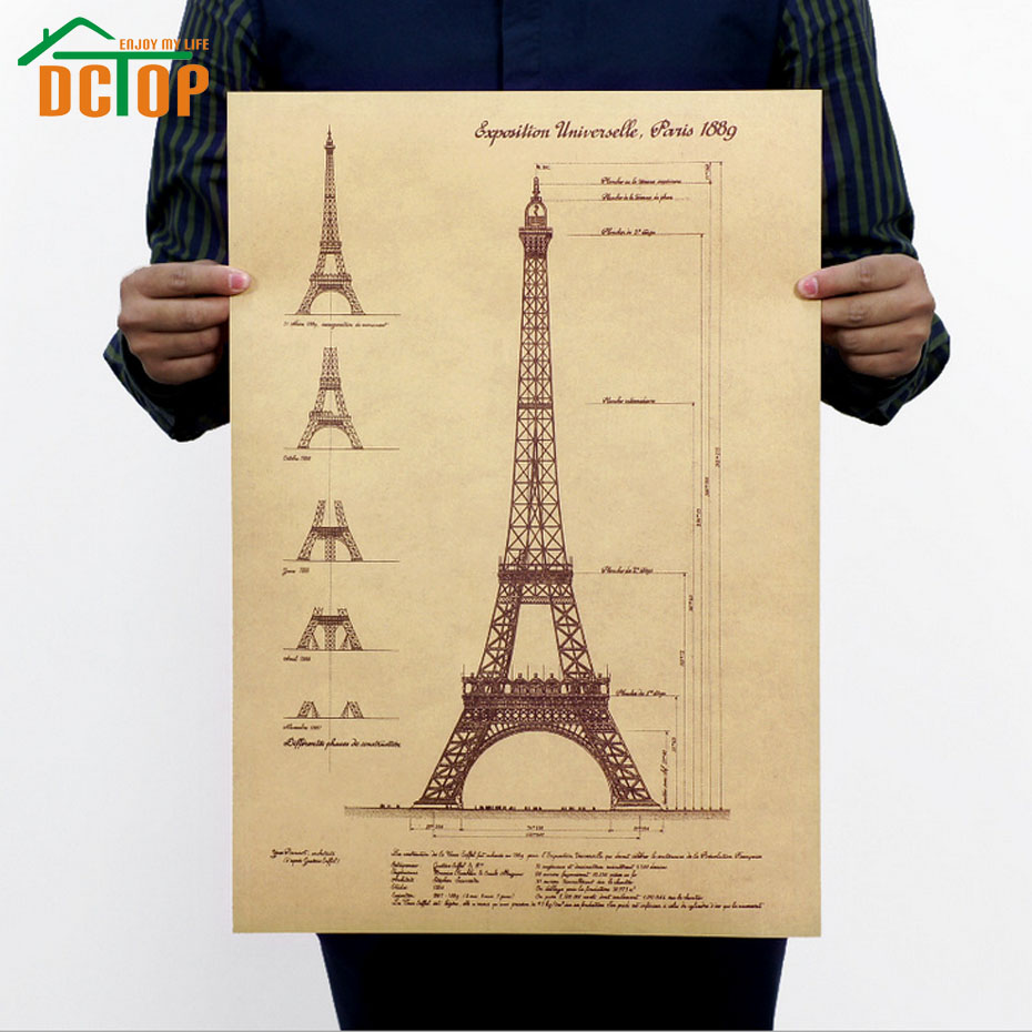 DCTOP Eiffel Tower Poster Retro Home Decor Living Room Decals Kraft Paper Wall Stickers Paris(China)