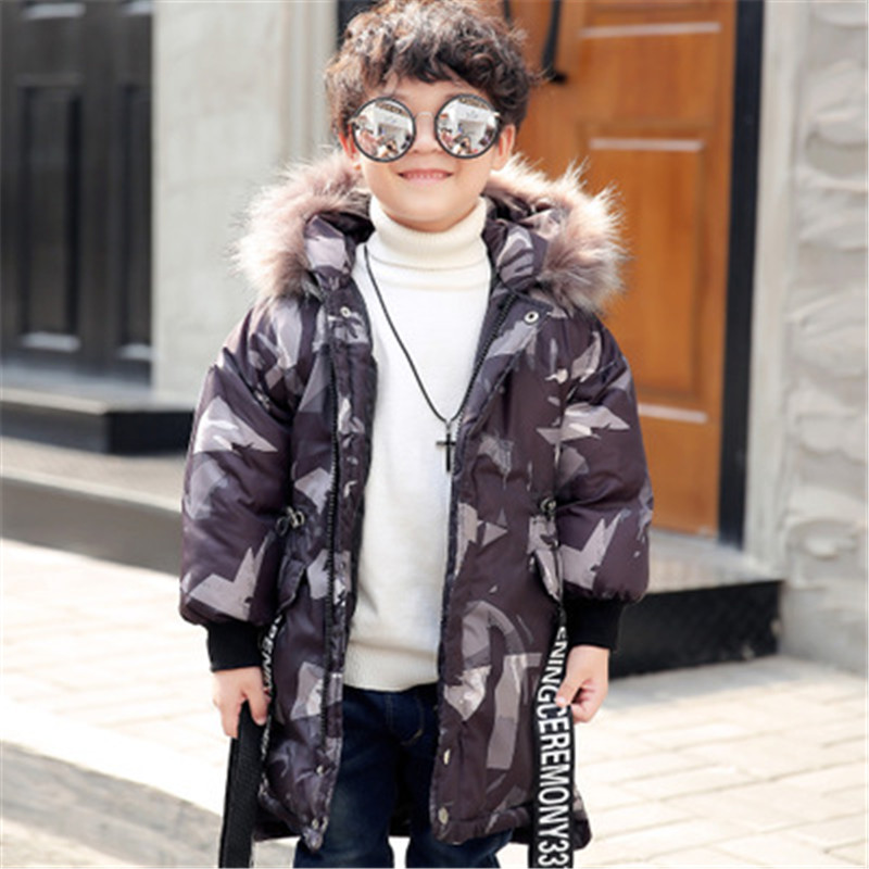 New Fashion Kids Winter Camouflage Outerwear Down Jacket Long Sleeve Thick Boys Winter Clothes Children Winter Fur Collar Coat