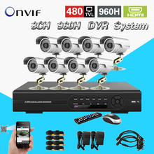 TEATE 8CH H.264 Network 960H D1 DVR kit with 8PCS 480TVL CCTV Camera Home Security CCTV surveillance System Phone Remote View-