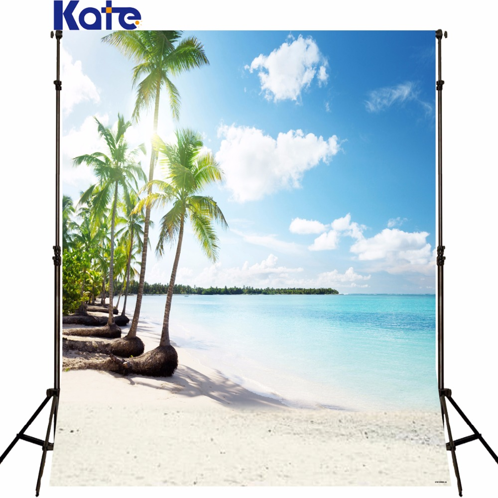 Kate sea scenery background photography Coconut Trees Sea Beach Photography Backdrops Scenic Backgrounds for photo studio funde<br>