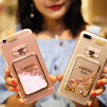 Luxury Bling Liquid Quicksand Perfume Bottles Coque Call Flashing Case For iPhone 8/8Plus 7 6S 6 7 Plus 6/6s Plus Back Cover(China)