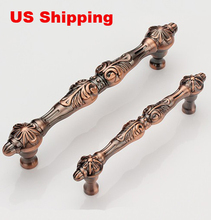 US Shipping 2pcs 96mm red copper color European Luxurious antique drawer pulls furniture handles(China)