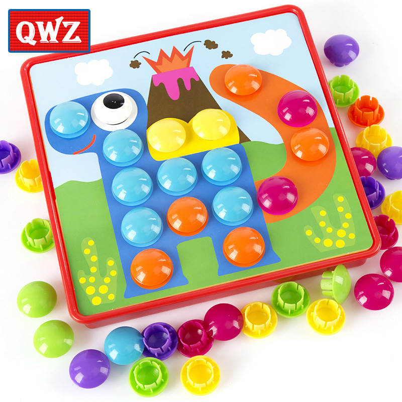 QWZ 3D Puzzles Toys For Children Composite Picture Puzzle Creative Mosaic Mushroom Nail Kit Educational Toys Button Art Kids Toy(China)