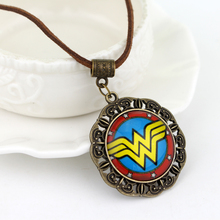Marvel Super Hero Necklace Wonder Women Glass Cabochon Pendant Necklace 12pcs/lot Movie Jewelry Free Shipping(China)
