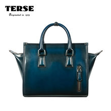 TERSE_New Release Women's Bags Handmade Genuine Leather Handbag Red Blue Color Clutch Tote Bag Office Lady Custom Logo Service(China)