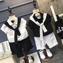 Children's Fashion Striped Suit 2017 Summer Boys' College Wind Tie Shirt +Shorts Clothing Kids 3 Colors 2 Piece/Sets(China)