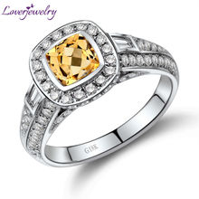 Cushion 5.5mm Solid 18Kt White Gold Diamond Yellow Citrine Ring,Bezel Setting Citrine Ring 750 White Gold WU103(China)