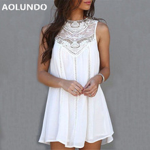 Casual Dresses for Woman 2017 Sleeveless Dresses Summer Fit Mini Beach Sexy Short White Lace Women Dress Plus Size