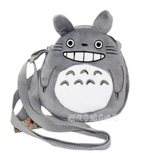 2017 Ladies Cute Totoro shoulder bag Cartoon Plush Purse Phone Messenger Bags Kids Smile gray animal white blue 3 colors Gift(China)