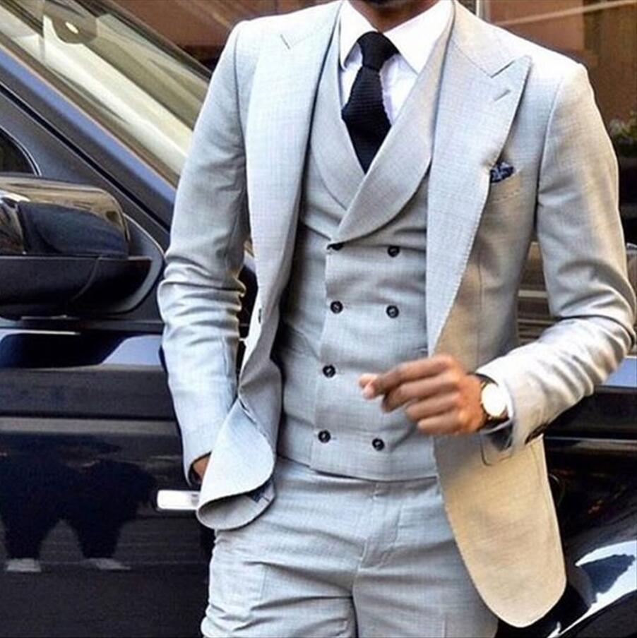 102-1 Custom Made New Style Light Grey Men Suit Double Breasted Slim Fit Skinny 3 Piece Tuxedo Groom Custom Blazer (Jacket+Pants+Vest)