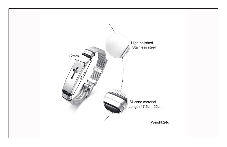 Meaeguet Stainless Steel Cross Bible Charm Bracelet Wristband For Men Adjustable Watch Bands Bracelet Christian Jewelry (6)