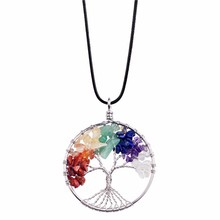 Drop shipping Wire Wrapped Tree of Life Necklaces Natural Chakra Stone Pendant Necklace Charms Jewelry