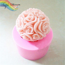 Sale 1 piece Flower Silicone candle mold Handmade soap mould resin molds cake kitchen decoration craft AB0514S(China)