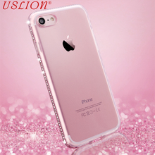 Luxury Phone Case For iPhone 5s 6 6s Plus 7 7 Plus Glitter Bling Diamond Transparent Soft TPU Mobile Phone Case Back Cover Bags