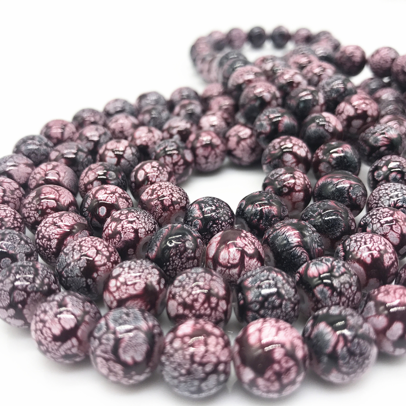 50pcs 6mm Glass Loose Charm Beads Pattern Making Bracelet Necklace Jewelry #01