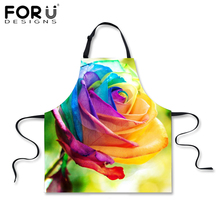 FORUDESIGNS Pink Flower Rose Apron for Women Beautiful Kitchen Design Waiter Aprons Colorful Ladies Chef Home Cooking Aprons