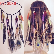 Hand Made Indian National Peacock Feather Hairbands Woman Bohemia Headbands Female Travel Tassel Hair Accessory Photo PropFG0107(China)