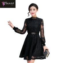 Buy New 2017 Women Autumn Elegant Black Lace Dress Plus Size S -4XL Patchwork Long Sleeve Dress Belt Casual Turtleneck Dress for $15.99 in AliExpress store