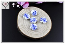 15mm Blue Peach Blossom Loose Spacer Beads 10pcs Jewelry Diy Beads Supplier Cheap Charm Beads For Bracelet Necklace Craft DIY