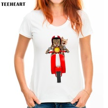TEEHEART Funny Cat Riding A Motorcycle T shirt Women Lovely Cartoon Shirt Good Quality Breathable Comfortable Tops PX266