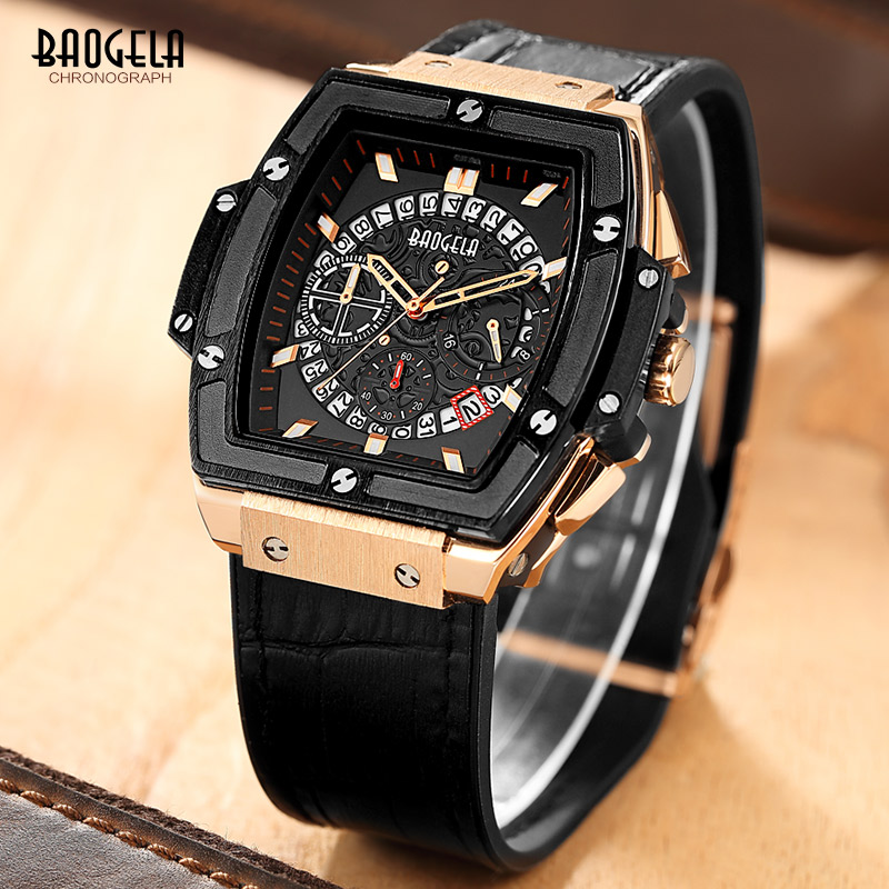 Baogela Chronograph Watch Mens Sport Quartz Wrist Watches Leather Luxury Brand Date Indicator Waterproof Wristwatches For Men<br>