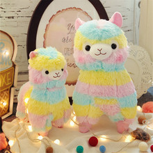 One Piece Rainbow Sheep Plush Toy Soft PP Cotton Stuffed Sheep Doll Super Cute Kids Sleeping Cushions Friends Gift 2 Size