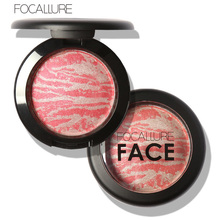 FOCALLURE Face Blush Baked Cheek Pressed Makeup Baked Blusher Palette 6 Colors Cosmetic Face Shadow Cosmetic Powder