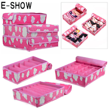 E-SHOW  hot 3 in 1 Foldable Storage Box Cloud Pattern Non-Woven Underwear Towel Grid Storage Organizer with Cover Set Two Colors