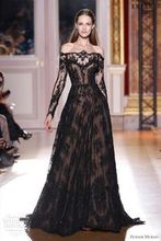 Inspired Evening Dresses A Line Transparent Neckline Long Sleeve Black Lace Evening Gowns